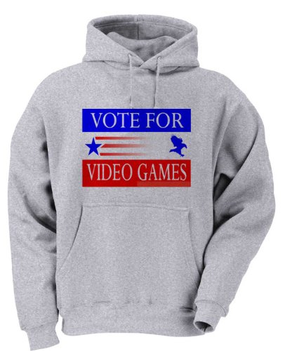 Vote For Video Games Youth Hooded Sweatshirt (For Kids) Ash Grey Large