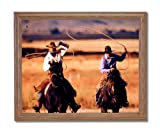 Roundup Cowboy Horse Western Rodeo Animal Home Decor Wall Picture Oak Framed Art Print