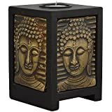 Rajasthali Arts Wooden Wood And Metal Candle Stand (RAS_00034, 10 Cm X 10 Cm X 14 Cm)