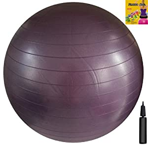 Fitness Ball: Purple, 30in/75cm Diameter, Includes 1 Ball +1 Pump + 1 Page Instruction Chart. No instructional DVD. (Exercise Gym Swiss Stability Ball)