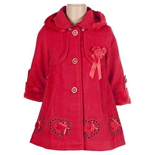 BIMARO Mädchen Mantel Lilly rot Jacke Kindermantel Kapuze gefüttert festlich Weihnachten Winter günstig