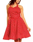 Vintage Polka Dot Halterneck Retro Pin cocktail dresses 50's 60's rockabilly pin-up sweetheart Audrey Hepburn swing skater short ladies womens prom