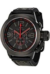 TW Steel Men's TW902 Cool Black Black Leather Strap Watch