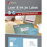 MACO Weather-Resistant White Laser/Ink Jet Full Sheet Labels, 8-1/2 x 11 Inches, 1 Per Sheet, 50 Per Box (ML-0150W)