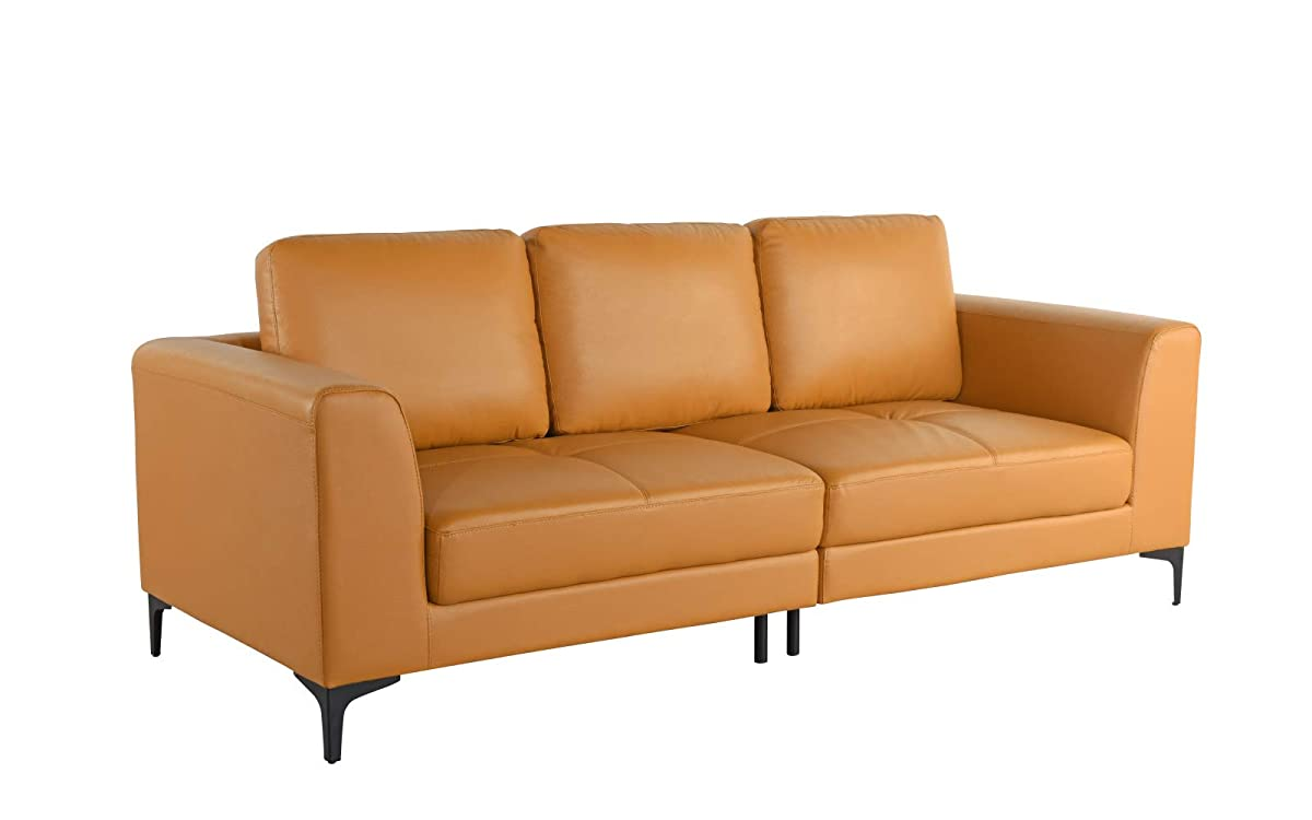 "Mid Century Modern Upholstered Leather Sofa, 81.1"" W inches (Light Brown)"