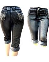 D&B PLUS SIZE WOMEN'S Stretch premium BLACK denim jeans CAPRI PANTS
