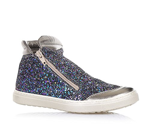 CIAO BIMBI - Sneaker in pelle e glitter, curata in ogni dettaglio ed in grado di coniugare stile, qualità e sicurezza, con chiusura a zip laterale, Bambina, Ragazza-32