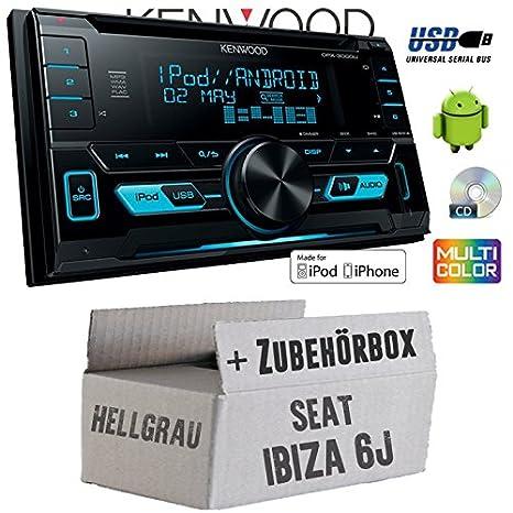 Seat Ibiza 6J 2DIN hellgrau - Kenwood DPX-3000U - 2DIN USB CD MP3 Autoradio - Einbauset