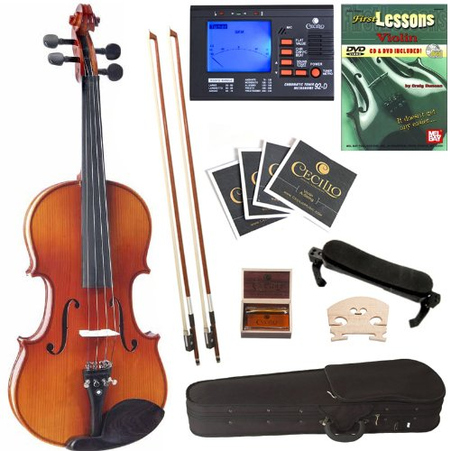 Cecilio Cvn-320L Ebony Fitted Solid Wood Left-Handed Violin With Tuner And Lesson Book, Size 1/4