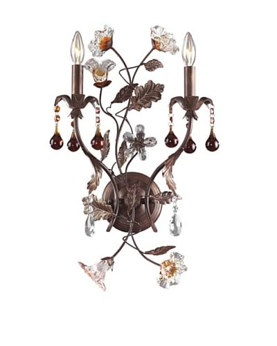 Artistic Lighting 2-Light Sconce Hand Blown Florets Sconce, Deep Rust