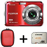 Fujifilm FinePix AX500 Red+ Case and 4GB Memory Card (14MP, 5x Optical Zoom) 2.7 inch LCD