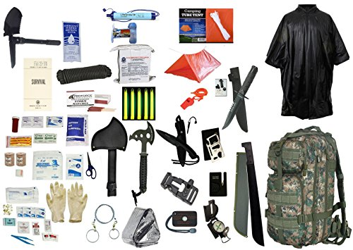 2-Person-Supply-3-Day-Emergency-Bug-Out-SOS-Food-Rations-Drinking-Water-LifeStraw-Personal-Filter-First-Aid-Kit-Tent-Blanket-Woodland-Backpack-Poncho-Essential-21-Piece-Survival-Gear-Set