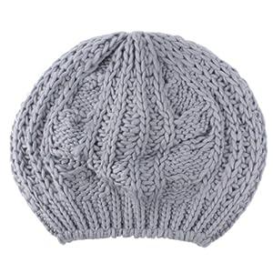 eFuture(TM) Light Grey Wool Chunky Knit Beanie Hat M Size+eFuture's nice Keyring