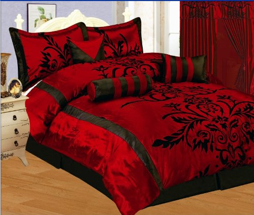 7 PC MODERN Black Burgundy Red Flock Satin COMFORTER SET / BED IN A BAG - QUEEN SIZE BEDDING
