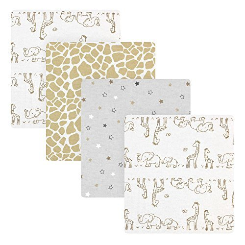 Koala Baby 4 Pack Flannel Receiving Blankets - Grey Giraffe - 1