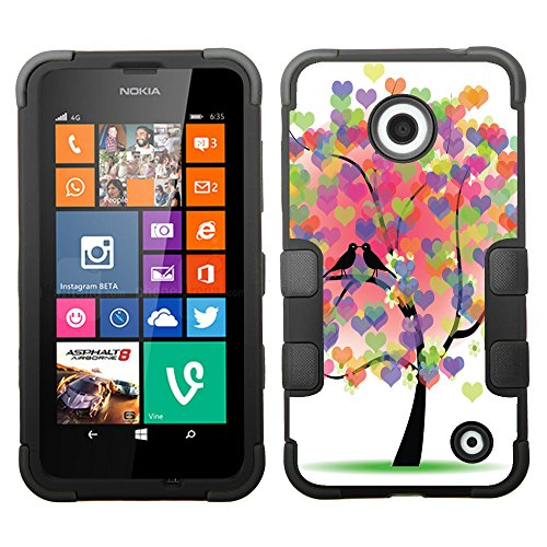 One Tough Shield ® Hybrid 3-Layer Phone Case (Black/Black) For Nokia Lumia 630 / 635 - (Color-Hearts-Tree)