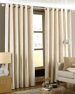Luxurious Cream Heavyweight Velvet 66x90 Lined Ring Top Curtain Drapes by Curtains
