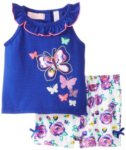 Kids Headquarters Baby-Girls Newborn Top With Flower Print Shorts, Blue, 3-6 Months front-749102