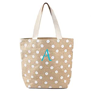 Cathy's Concepts Polka Dot Jute Tote Bag, White