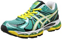 Hot Sale ASICS Women's GEL-Nimbus 15 Running Shoe,Green/Pearl White/Yellow,8.5 M US