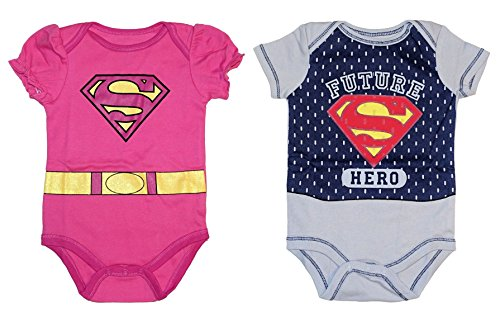DC Comics Superman / Supergirl Logo Baby Boys & Girls Bodysuit Dress Up Outfit