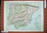 Antique Maps Spain Portugal Ibiza Majorca Minorca Sea