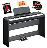 Yamaha P-105 Digital Piano Bundle with Yamaha L85 Furniture-Style Stand, Yamaha LP5A 3-Pedal System, Hal Leonard Instructional Book, Austin Bazaar Instructional DVD, and Austin Bazaar Polishing Cloth - Black