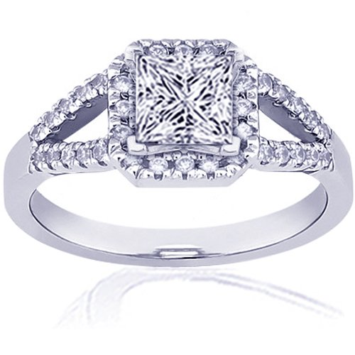 1.3 Ct Princess Cut Halo Diamond Engagement Ring