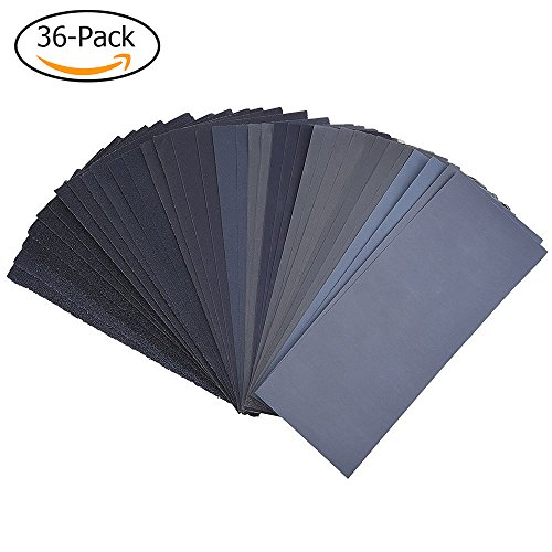 120 to 3000 Assorted Grit Sandpaper for Wood Furniture Finishing, Metal Sanding and Automotive Polishing, Dry or Wet Sanding, 9 x 3.6 Inch, 36-Sheet (150 Grit Wet Dry Sandpaper compare prices)