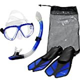 Seavenger Diving Snorkel Set- Dry Top Snorkel / Trek Fin / 2-windows Tempered Glass Mask / Gear bag- Blue - Large/X-Large