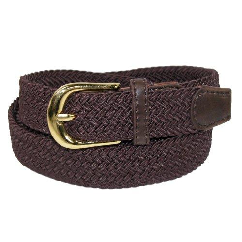 CTM® Womens Elastic Braided Stretch Belt, Large, Brown