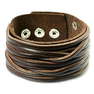 SilberDream Bracelet de Cuir fixation en boutons-pression Couleur brun Taille de 20 à 23cm Bracelet pour homme LA2249B