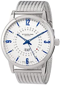 Stuhrling Original Men's 345M.331116 Classic Ascot Jupiter Swiss Quartz Day and Date Stainless Steel Mesh Watch