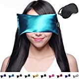 Hot Cold Lavender Eye Pillow with Free Eye Mask for Sleep, Yoga, Migraine Headaches, Stress Relief. By Happy Wraps - Aqua