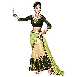 Trishana Fashions Lehenga Choli Net Embroidered TFWE11172 Beige & deep green