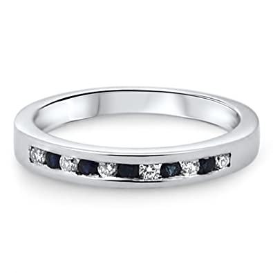 0.25carat Blue Sapphire and Round Diamonds Hlaf Eternity Wedding Ring in 9k White Gold