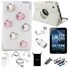 AceNear Accessory Bundle For ASUS Transformer Pad TF300 10.1-Inch Tablet - New 360 Degress Rotating Stand 3D Luxury Crystal Bling Leather Folio Case Cover , Headset Dust Plug Capacitive Stylus, Screen Protector, USB Cable, Charger, Earphone, bag, Car Charger Adapter - lovely fish