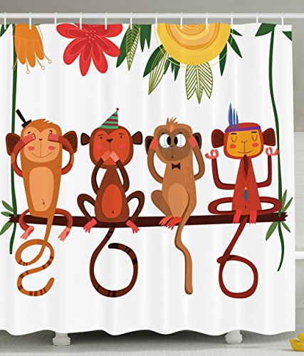 Chinese New Year Three Wise Monkeys Eastern Traditional Calendar Horoscopes Funny Chimpanzees Funky Digital Print Polyester Fabric Fun Shower Curtain Coral Yellow Brown Green White