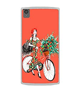 Girl with Flowers on Cycle 2D Hard Polycarbonate Designer Back Case Cover for OnePlus X :: One Plus X :: One+X