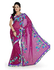 Designersareez Women Faux Georgette Embroidered Deep Pink Saree With Unstitched Blouse(693)