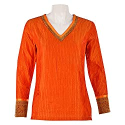 Geroo Women Silk Orange Pintuck Top With Brocade Border Size: 40