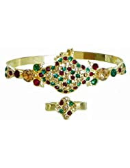 Faux Emerald, Citrine And Garnet Studded Cuff Bracelet And Adjustable Ring - Metal