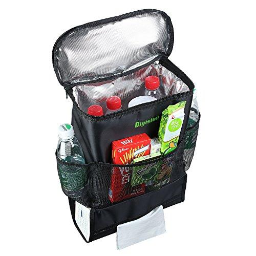 DIGISION® Car Back Seat Organizer/Auto Seat /Multi-Pocket Travel Storage Bag/Insulated Car Seat Back Drinks Holder Cooler /Storage Bag Cool Wrap Bottle Bag/Mesh Pockets(Heat-Preservation)