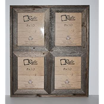 "8x10 - 2.5"" Wide Reclaimed Rustic Barnwood Collage Photo Frame - Holds 4 Photos"