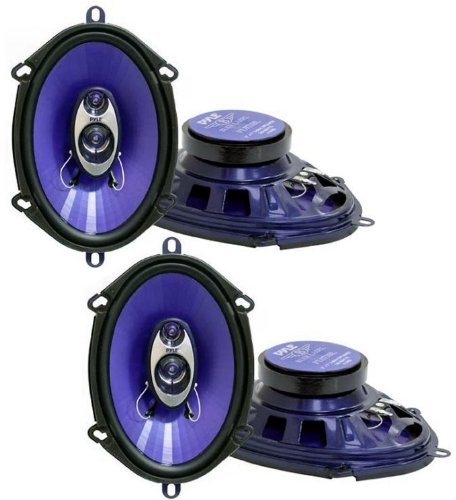 "4) Pyle Pl573Bl 5X7/6X8"" 600 Watts 3-Way Car Speakers"