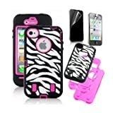 SODIAL(TM) Rose Pink White Zebra Combo Hard Soft High Impact iPhone 4 4S Armor Case Skin Gel with free screen protector