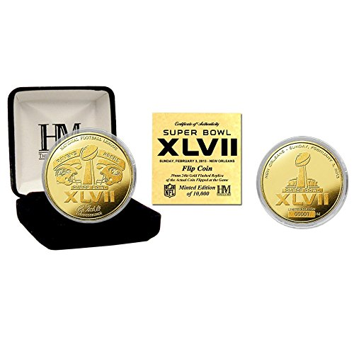 "NFL Baltimore Ravens Super Bowl XLVII Flip Coin, 8"" x 4' x 1"", Gold"