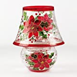 Crackle Glass Lamp - Poinsettia