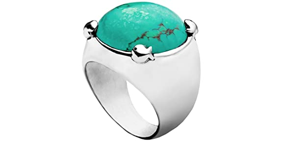 Clio Blue 925 Sterling Silver Men's Ring, Turquoise, 13.9g, T54