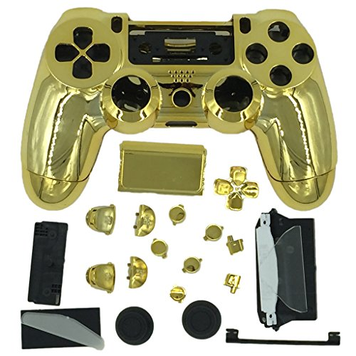 gamexcel-rgolden-chrome-finished-replacement-playstation-4-controller-shell-case-kits-buttons